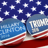 Campaign buttons for Clinton and Trump.