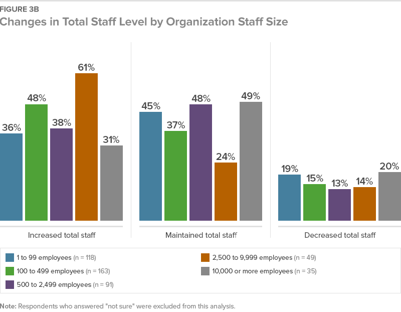 Figure 3B Changes in Total Staff Level by Organization Staff Size